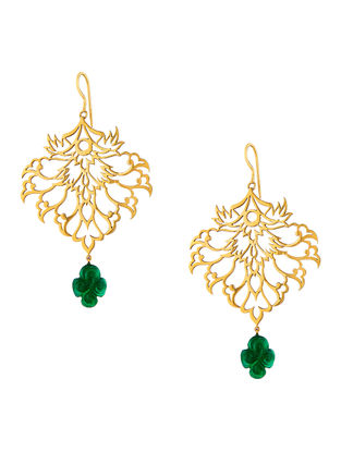 Green Onyx Gold-plated Sterling Silver Earrings