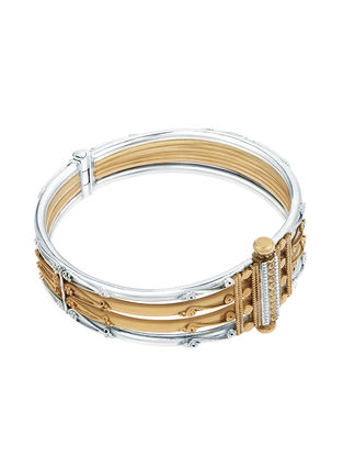Dual Tone Hinged Opening Gold-plated Sterling Silver Bangle (Bangle Size -2/4)