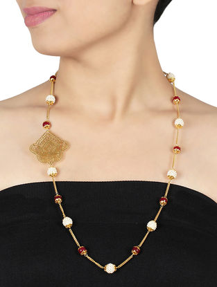 Coral and Pearl Gold-plated Sterling Silver Necklace