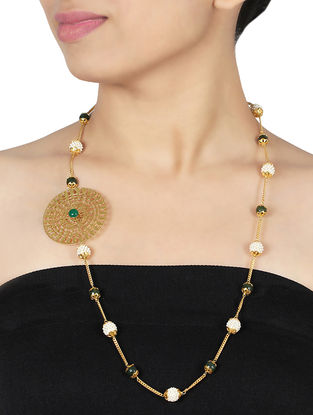 Green Onyx and Pearl Gold-plated Sterling Silver Necklace