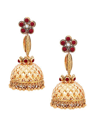 Coral and Pearl Gold-plated Sterling Silver Jhumkis