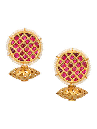 Pink Gold-plated Sterling Silver Earrings with Pearls