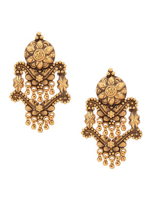 Gold-plated Sterling Silver Earrings with Floral Motif