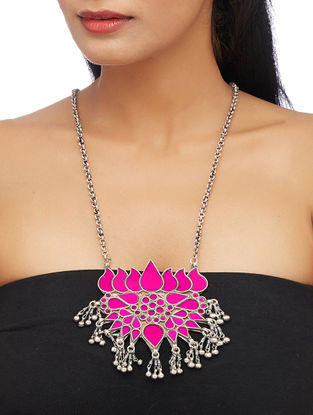 Pink Glass Sterling Silver Pendant with Lotus Design