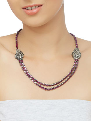 Pink Tribal Sterling Silver Necklace with Peacock Motif
