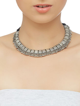 Tribal Sterling Silver Necklace with Floral Motif