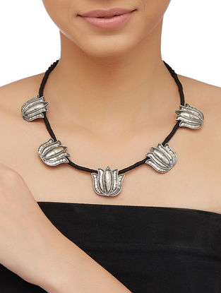 Black Thread Sterling Silver Necklace with Lotus Design
