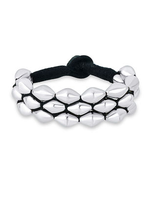 Black Thread Tribal Sterling Silver Bracelet