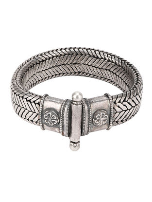Hinged Opening Tribal Sterling Silver Bracelet