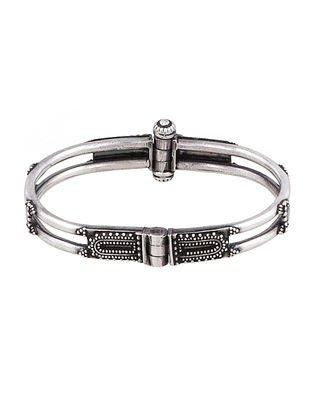 Hinged Opening Tribal Sterling Silver Bangle (Bangle Size -2/8)