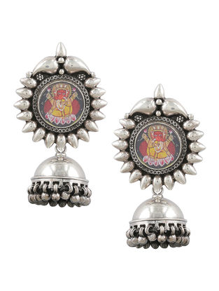 Multicolored Sterling Silver Jhumkis with Hand-painted Lord Ganesha Motif