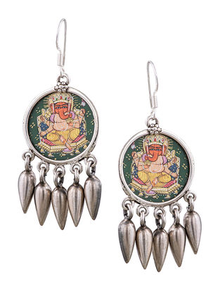 Multicolored Tribal Sterling Silver Earrings with Hand-painted Lord Ganesha Motif