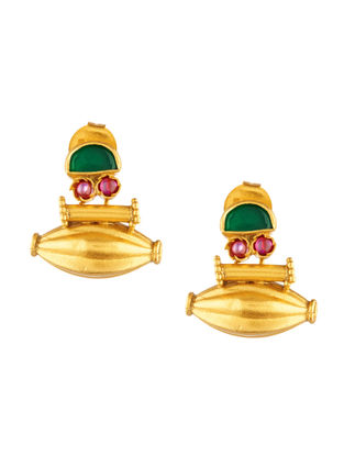 Green Onyx and Ruby Gold-plated Sterling Silver Earrings