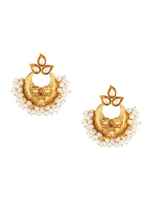 Gold-plated Sterling Silver Earrings with Seed Pearls