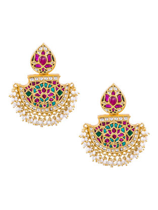Multicolored Gold-plated Sterling Silver Earrings with Pearls