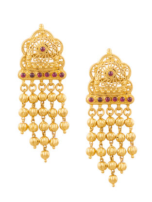 Red Onyx Gold-plated Sterling Silver Earrings