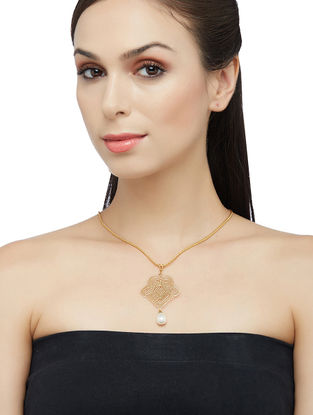 Gold-plated Sterling Silver Pendant with Pearls