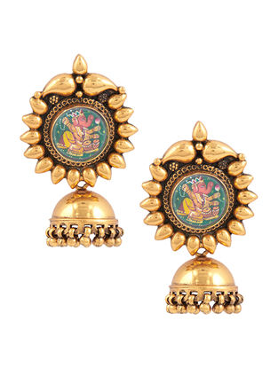 Gold-plated Sterling Silver Jhumkis with Hand-painted Lord Ganesha Motif