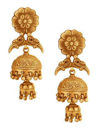 Gold-plated Sterling Silver Jhumkis with Floral Design