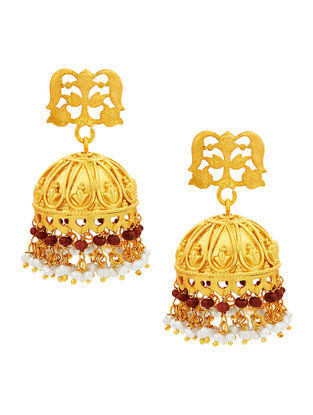 Red Gold-plated Sterling Silver Jhumkis