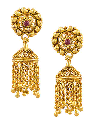 Ruby Gold-plated Sterling Silver Jhumkis