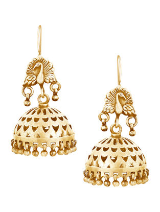 Gold-plated Sterling Silver Jhumkis with Peacock Design