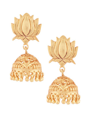 Gold-plated Sterling Silver Jhumkis with Lotus Design