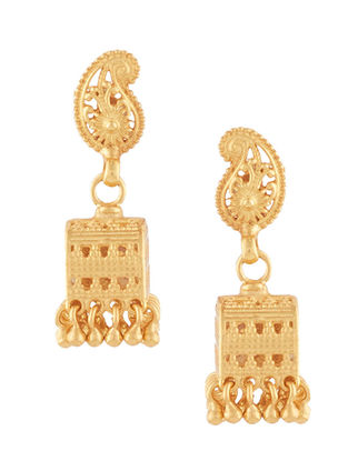 Gold-plated Sterling Silver Jhumkis with Paisley Design