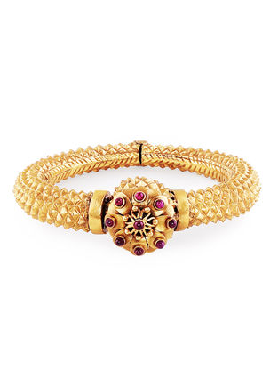 Ruby Hinged Opening Gold-plated Sterling Silver Bangle (Bangle Size - 2/8 )