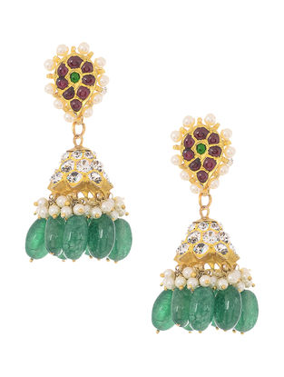 Quartz Gold-plated Silver Jhumkis
