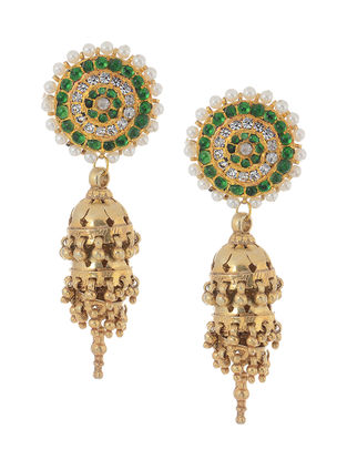Green Gold-plated Silver Jhumkis with Pearls