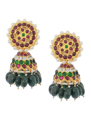 Emerald Gold-plated Silver Jhumkis with Pearls