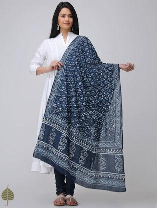 Indigo-White Natural Dyed Dabu Printed Cotton Dupatta with Mukaish by Jaypore