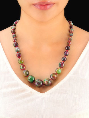 Shaded Green-Maroon Hand Beaded Necklace