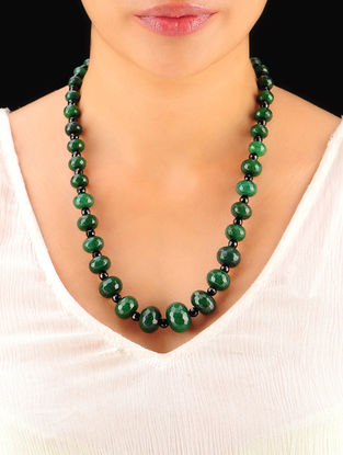 Bottle Green - Black Hand Beaded Necklace