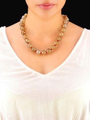 Amber - Maroon Hand Beaded Necklace