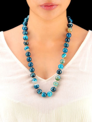 Shaded Indigo Hand Beaded Necklace