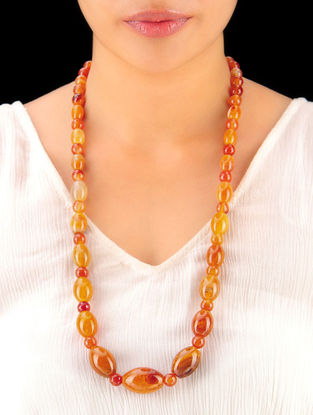 Shaded Ocre Hand Beaded Necklace