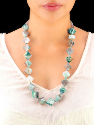 Sea-Green Grey Hand Beaded Necklace
