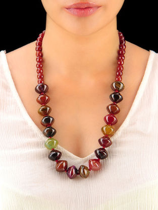 Multi-Colour - Rust Hand Beaded Necklace