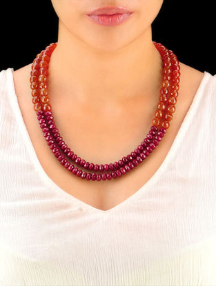 Rust - Maroon Hand Beaded Necklace