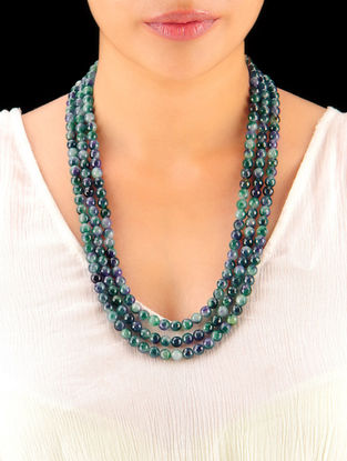 Shaded Peacock - Green Hand Beaded Necklace