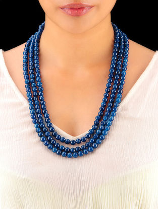 Indigo Hand Beaded Necklace