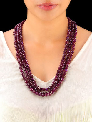 Burgandy Hand Beaded Necklace