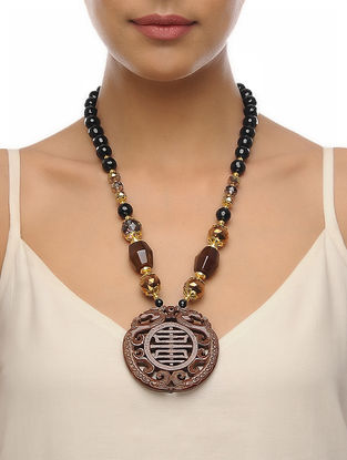 Brown-Black Carved Onyx Necklace