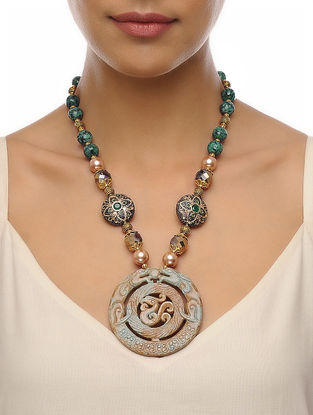 Teal-Beige Carved Onyx Necklace