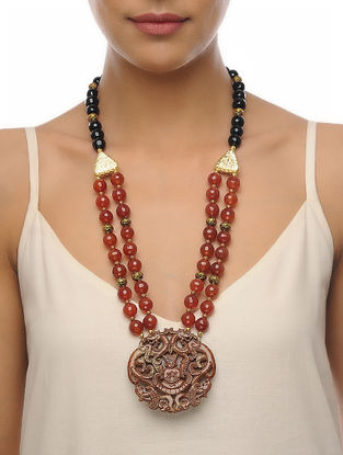 Rust-Black Carved Onyx Necklace