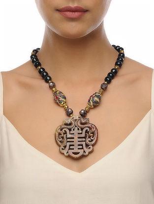 Black-Beige Carved Onyx Necklace