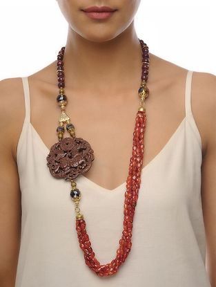 Orange-Brown Carved Onyx Necklace
