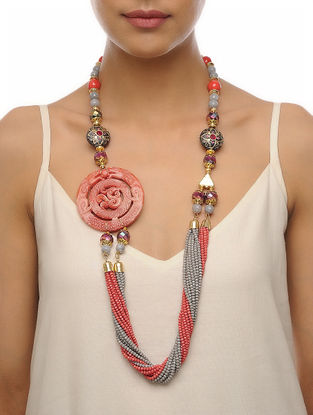 Pink-Grey Carved Onyx Necklace